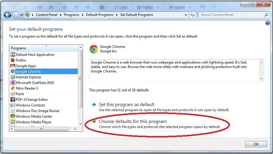 In Set Default Programs then Choose default for this application