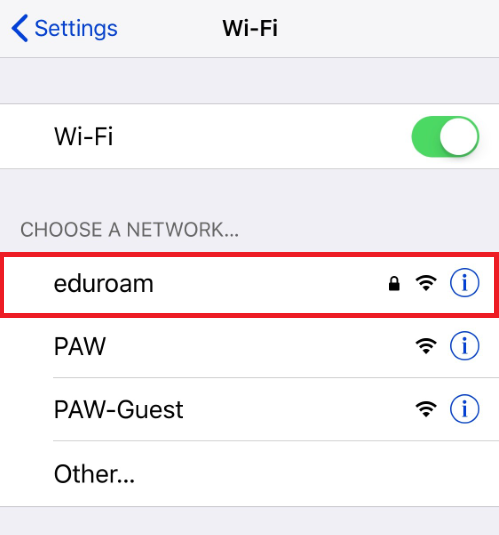 Select EDURoam under wifi
