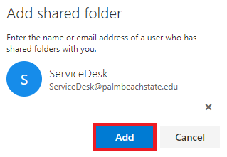 Select the mailbox, then select Add