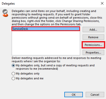 Choose the delegate account then click permissions