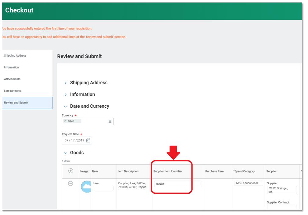 Supplier Item Identifier on requisition
