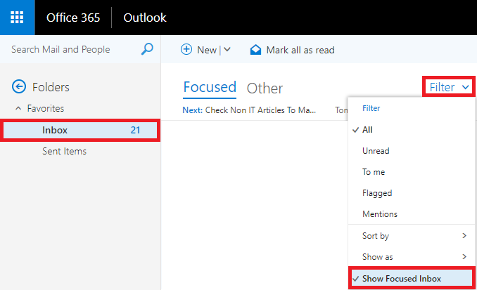 From Inbox, select the Filter drop down then uncheck Show Focused Inbox