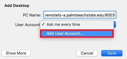 Click Add User Account