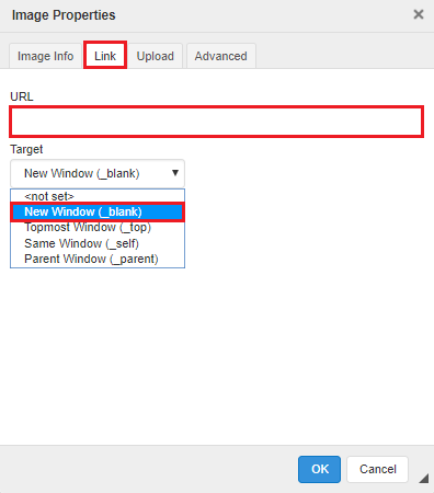 From the link tab, insert a URL, choose new window under target