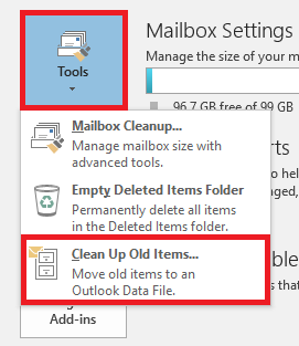 Select the Tools drop down then select clean up old items