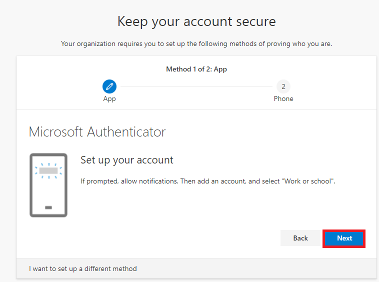 Microsoft Authenticator- Set up your account