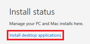 Click on install desktop applications