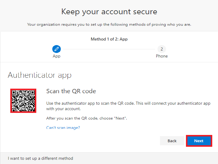 Scan the QR Code under keep your account secure