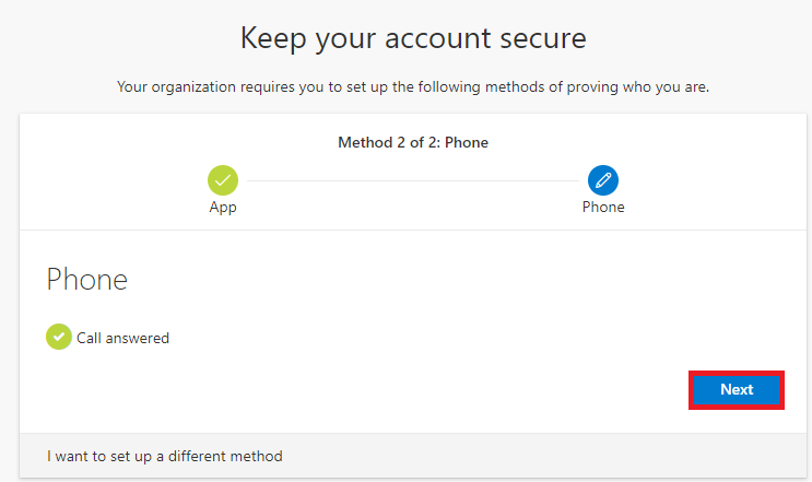 Phone authentication method set up successfully