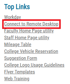 Select Connect to Remote Desktop
