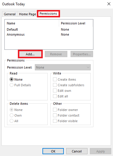 Select the Permissions tab, then select Add