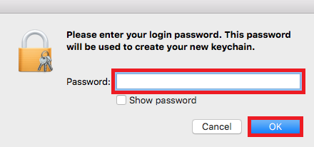 Enter in your password then select OK