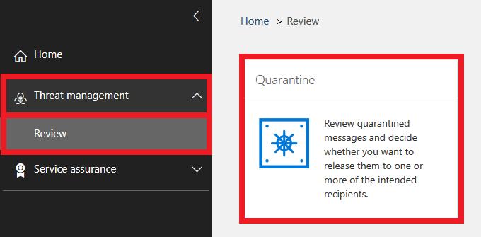 Select threat management and reveiw then quarantine