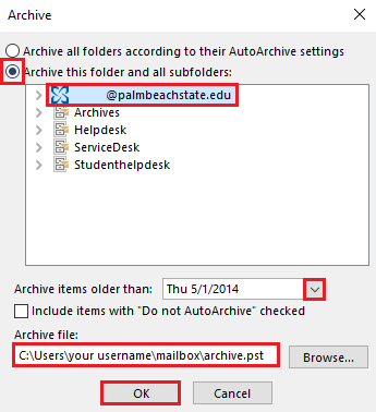 Select the full email address, set the archive date, confirm the file save location