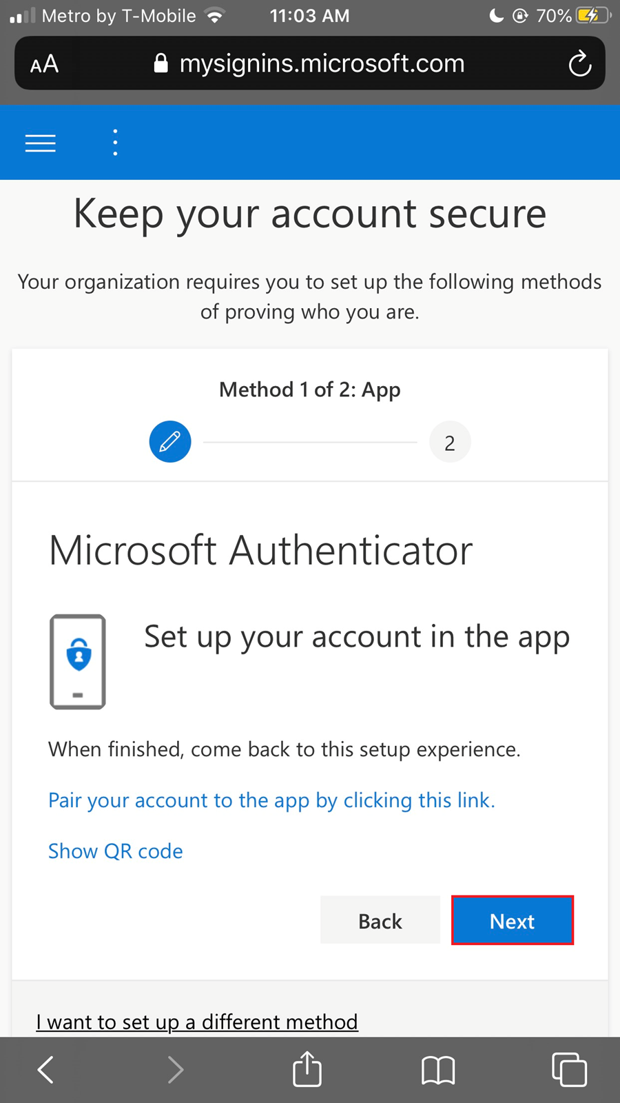 Click on Next to keep account secure