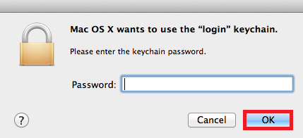 Enter in your password, then select OK