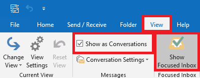 From the View Tab, deselect show focused inbox and un-check Show As Conversations