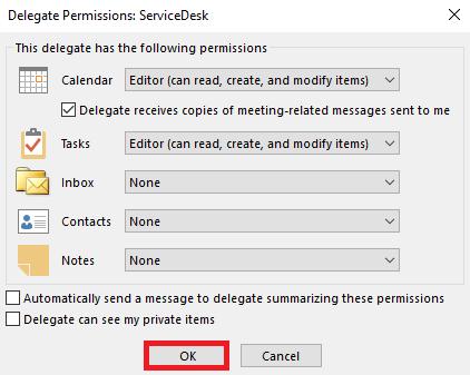 Configure the permissions