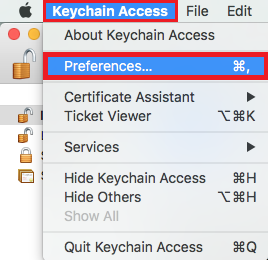 Select keychain access, then select preferences