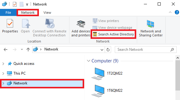 Select Network then click Network at the top left, then click search active directory