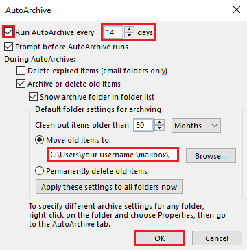 Select run auto archive, specify date and options, confirm file location, select OK