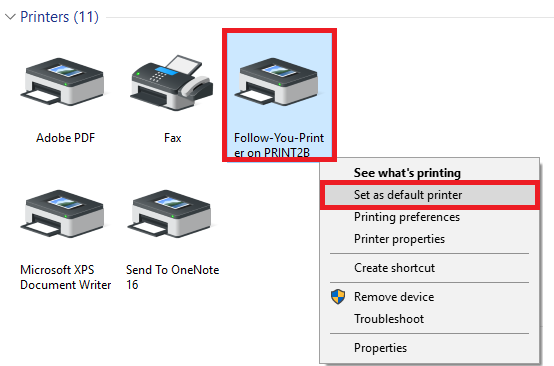 Right click the printer and select set as default
