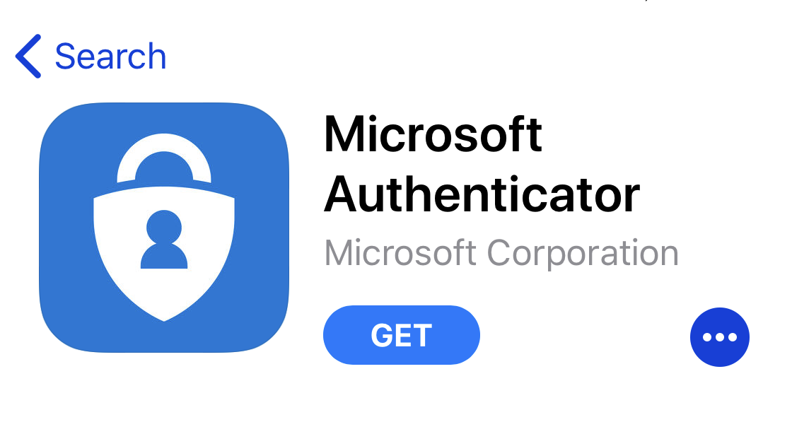 Microsoft Authenticator app in the app store. Blue button and white text GET, which begins the download