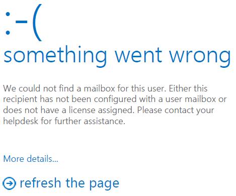 outlook on the web error - something went wrong.