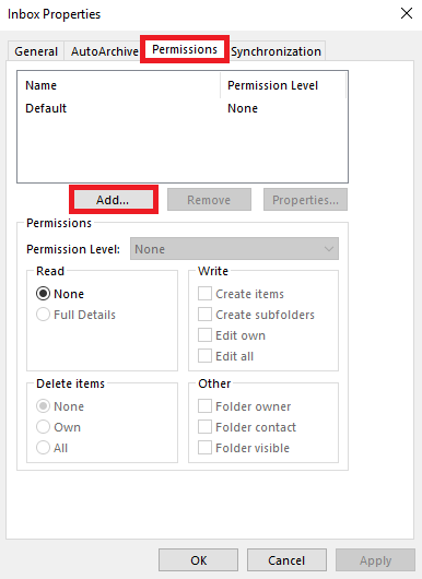 From the Permissions tab select Add