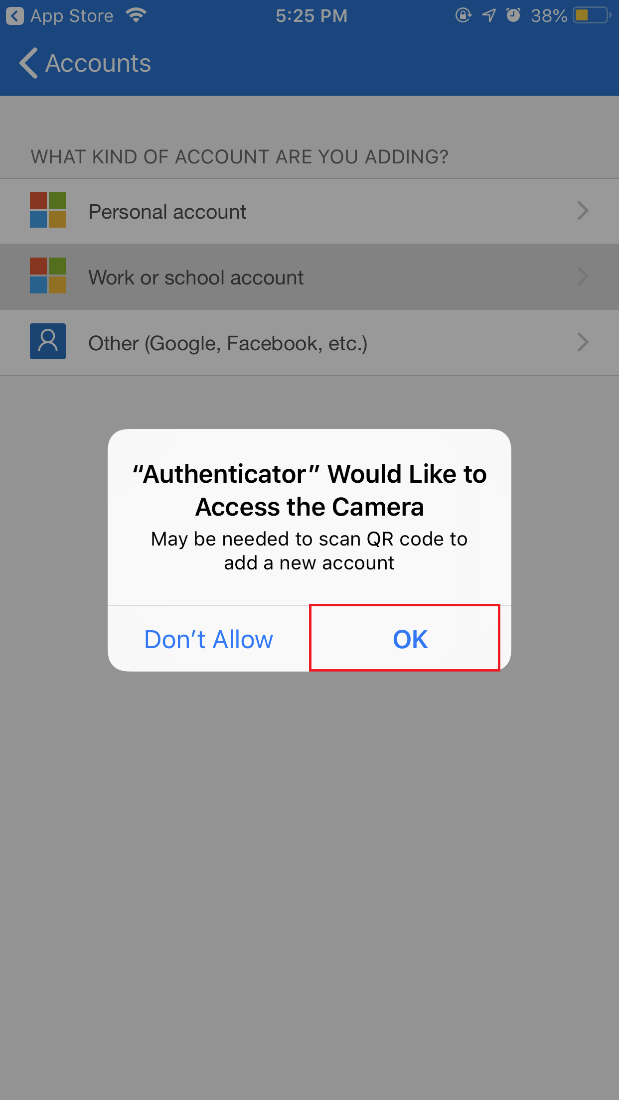 Click on OK to allow Authenticator to acces the Camera