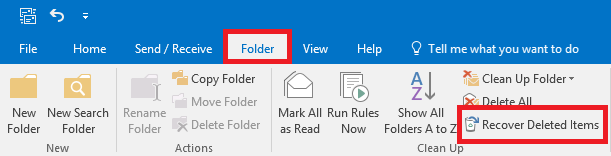 Select folder, then select Recover Deleted Items