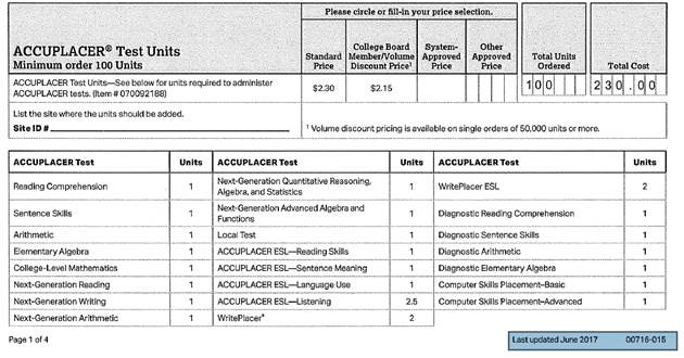 Accuplacer order form
