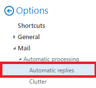 Under Mail select Automatic Replies