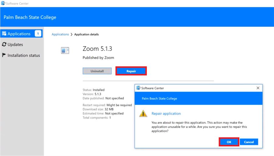 Zoom Repair in Software
