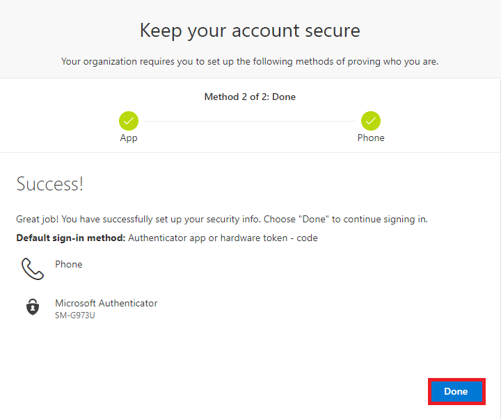 Both authentication methods are set up