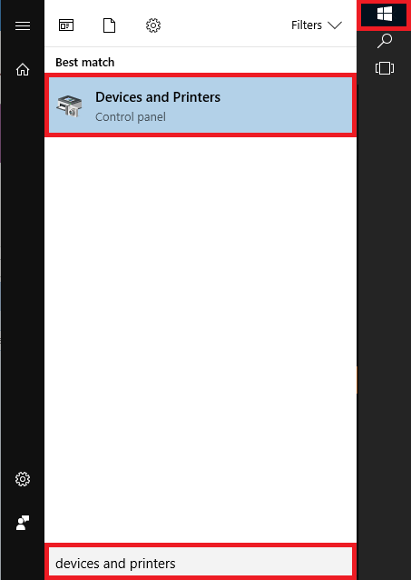 From the start menu open devices and printers