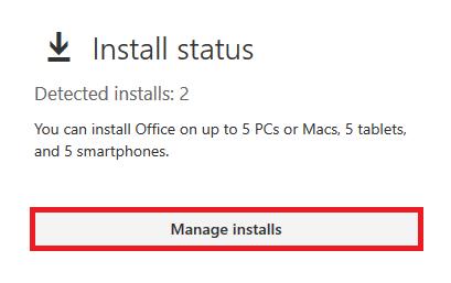 Click on manage installs