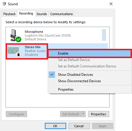 Right-click Stereo Mix and select Enable