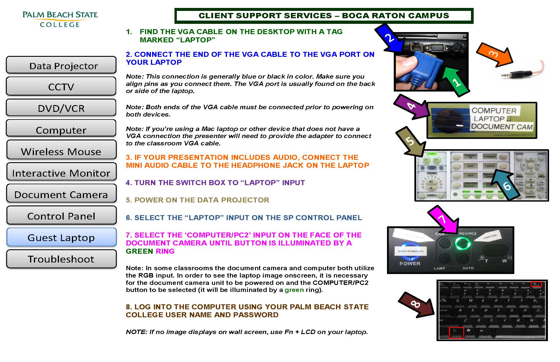 How to connect your personal laptop to the projector in the Classroom
