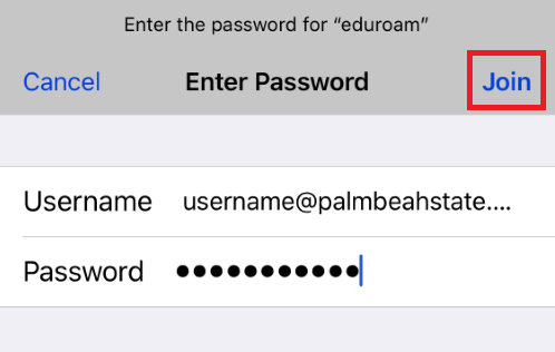 enter in your full palm beach state college email address and your current password