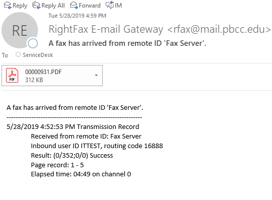 RightFax E-Mail Gateway from Fax Server