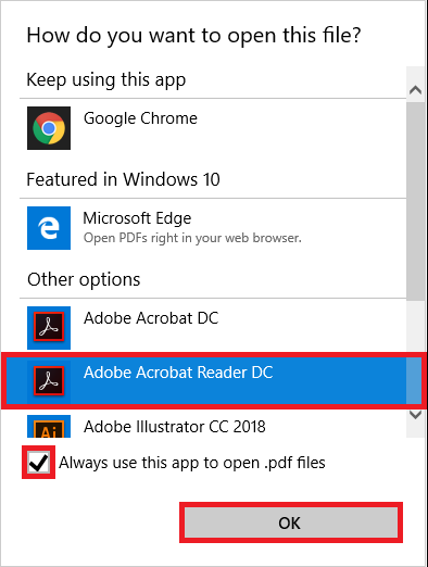 """Choose the app you want to use. Select the checkbox """"always use this app"""" make this app the default program."""