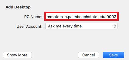 Input remote T S dash A dot palm beach state dot e d u colon 9 0 0 3