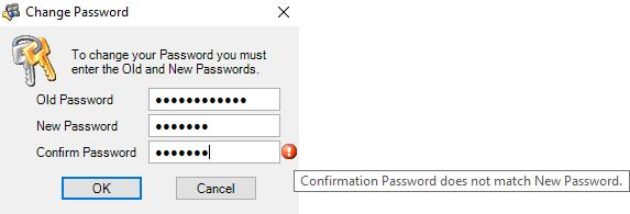 Confirmation Password does not match New Password