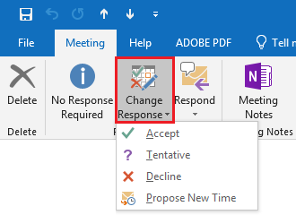 Click Change Response and choose the meeting response option