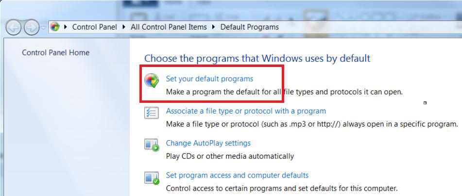Control Panel Set your default programs