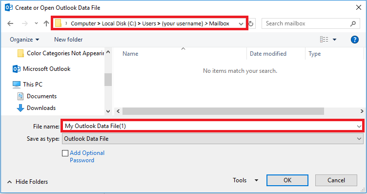 Verify the file path is computer, local disk, your username, and mailbox