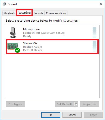 Select the Recording tab and confirm Stereo Mix is enabled.