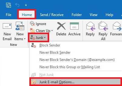 From the Junk drop down select junk email options