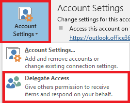 Click Account Settings then Delegate Access